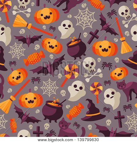 Halloween Seamless Pattern with Orange Pumpkin, Spider Web, Candy, Witch Hat, Broom and Cauldron, Skull and Crossbones. Vector Illustration. Flat Icons on Dark Background