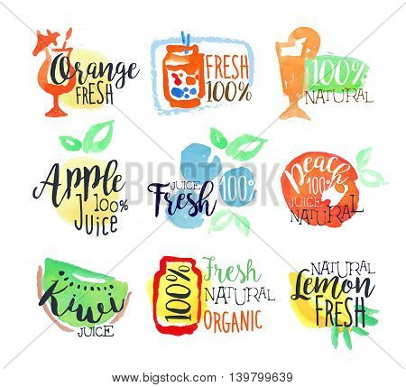 Fresh Fruit Juice Promo Signs Colorful Set Of Watercolor Stylized Logo With Text On White Background