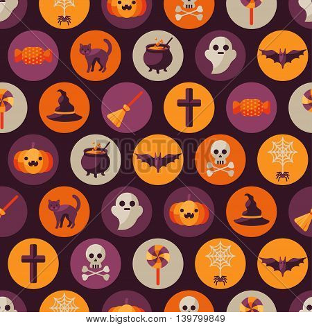 Halloween Seamless Pattern with Orange Pumpkin, Spider Web, Witch Hat, Broom and Cauldron, Skull and Crossbones. Vector Illustration. Flat Icons in Circles on Dark Background