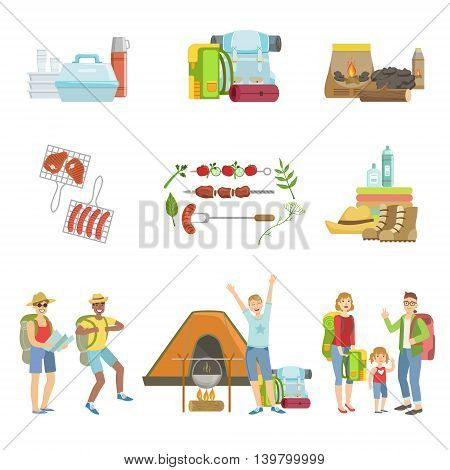 People Camping And Their Equipment Set Of Simple Childish Flat Colorful Illustrations On White Background