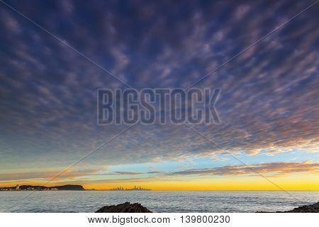 Sunrise cloudscape, view from Currumbin Rock Gold Coast