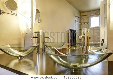 Bathroom Interior With Two Modern Vessel Sinks