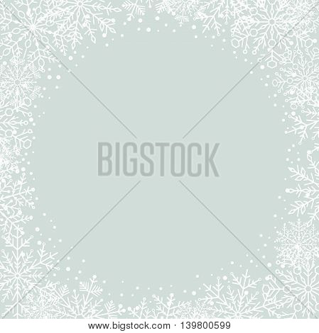 Winter vector frame with arabesques and snowflakes. Fine greeting card. Light blue and white pattern