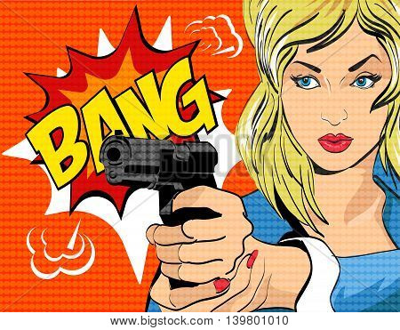 Pop art style vector illustration. Woman with gun.