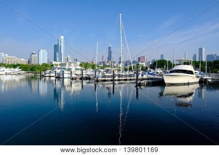 Chicago skyline in the morning with urban marina in front.