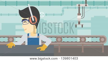 An asian man working on metal press machine. Worker in headphones operating metal press machine at factory workshop. Vector flat design illustration. Horizontal layout.