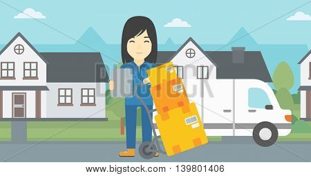 An asian delivery woman with cardboard boxes on troley. Delivery woman with clipboard. Woman standing in front of delivery van. Vector flat design illustration. Horizontal layout.