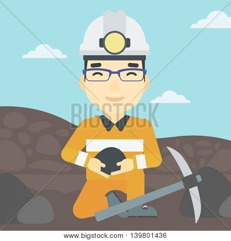 An asian miner  in hard hat sitting with coal in hands and a pickaxe on the background of coal mine. Vector flat design illustration. Square layout.