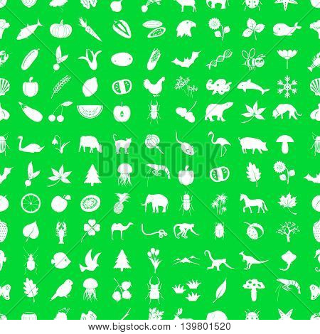 One Hundred Different Nature Theme Icons Set Green And White Seamless Pattern Eps10