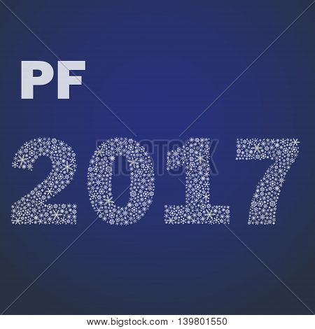 Blue Happy New Year Pf 2017 From Little Snowflakes Eps10