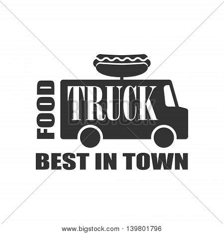 Hot Dog Food Truck Logo Graphic Design. Black And White Emblem Vector Print