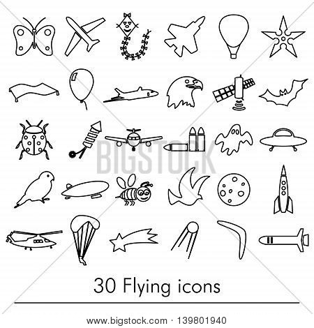Flying Theme Theme Outline Symbols And Icons Set Eps10