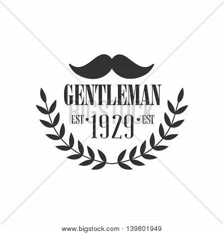 Gentleman Club Label With Moustache In Black And White Graphic Flat Vector Design