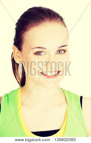 Attractive woman's face. Portrait. Closeup.