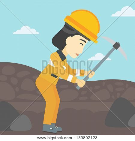 An asian female miner  working with a pickaxe. Mine worker in hard hat. Miner at the coal mine. Vector flat design illustration. Square layout.