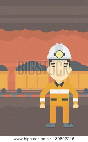 An asian confident coal miner. Male miner in hardhat with torch. Miner standing on the background of mining tunnel with cart full of coal. Vector flat design illustration. Vertical layout.