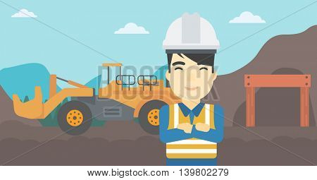 An asian confident coal miner. A miner standing in front of a big mining equipment on the background of coal mine. Vector flat design illustration. Horizontal layout.