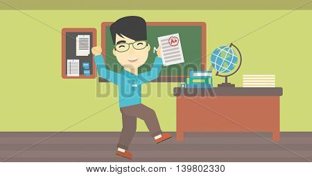 An asian happy student holding a sheet with the highest mark. Student showing test with A grade in the classroom. Student received best mark. Vector flat design illustration. Horizontal layout.
