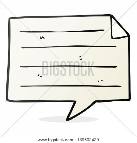 freehand drawn cartoon notes speech bubble