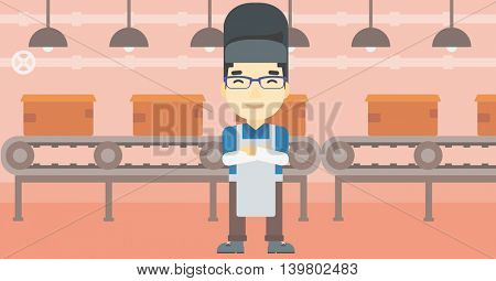 An asian industrial worker with protective welder mask. Welder with arms crossed on the background of factory workshop with conveyor belt. Vector flat design illustration. Horizontal layout.