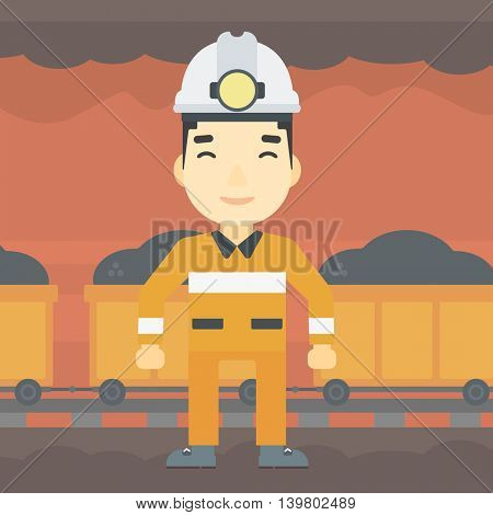 An asian confident coal miner. Male miner in hardhat with torch. Miner standing on the background of mining tunnel with cart full of coal. Vector flat design illustration. Square layout.