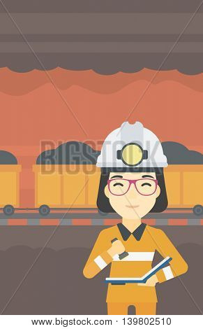 An asian miner  checking documents with the flashlight. Mine worker in hard hat on the background of mining tunnel with cart full of coal. Vector flat design illustration. Vertical layout.