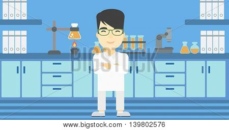 An asian young male laboratory assistant standing on the background of laboratory vector flat design illustration. Horizontal layout.