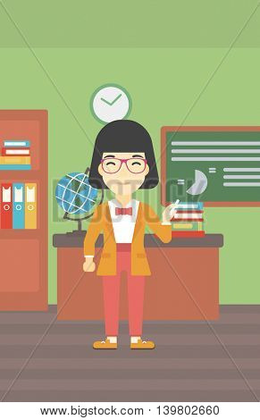 An asian young teacher standing in classroom. Teacher standing in front of the blackboard. Teacher with a piece of chalk in her hand. Vector flat design illustration. Vertical layout.