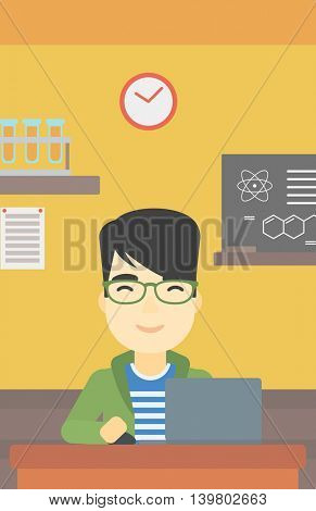 An asian young student sitting at the table and working on laptop. Man working on a laptop on the background of chemistry class . Vector flat design illustration. Vertical layout.