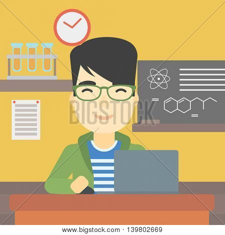 An asian young student sitting at the table and working on laptop. Man working on a laptop on the background of chemistry class . Vector flat design illustration. Square layout.