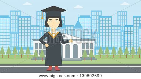Asian happy graduate in cloak and graduation cap. A female graduate giving thumb up. Graduate celebrating on a background of educational building. Vector flat design illustration. Horizontal layout.