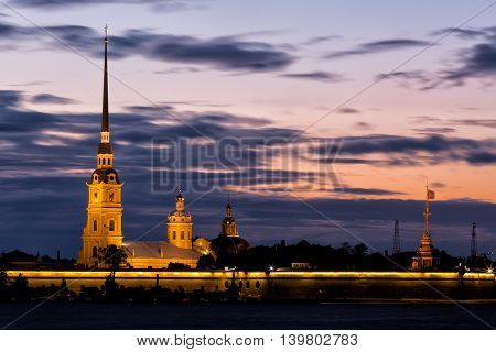 Peter and Paul fortress in sunrise Saint-Petersburg Russia
