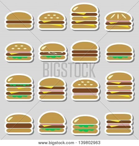 Colorful Hamburgers Types Fast Food Modern Simple Stickers Eps10