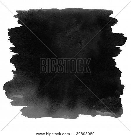 Black color watercolor stain isolated over white. Watercolour abstract hand painted textured wet ink spot for background.