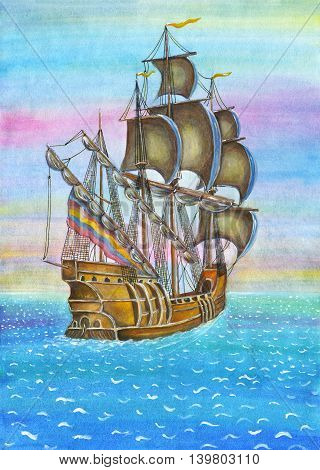 The Sailing, watercolor illustration, ship in the ocean, transportation concept