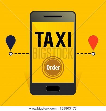 Vector stock of online taxi order application with smart phone