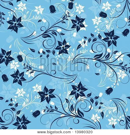 Floral seamless background for yours design usage. For easy making seamless pattern just drag all group into swatches bar, and use it for filling any contours.