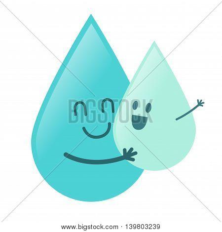 Vector stock of water droplet character hugging baby water droplet