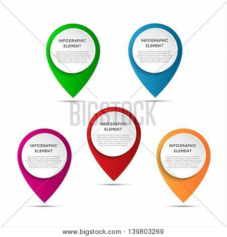 Set of round 3D pointers isolated o white background modern infographic element vector illustration