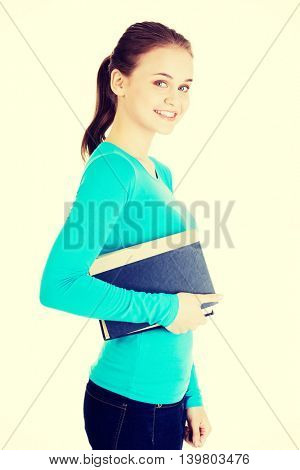 Young caucasian woman  with book