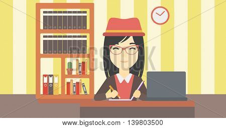 An asian young female student sitting at the desk with laptop. Student using laptop at home and writing notes. Student working on laptop. Vector flat design illustration. Horizontal layout.