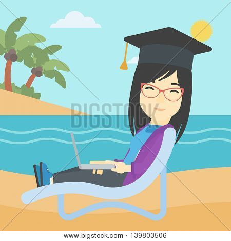 An asian happy graduate lying in chaise long. Young woman in graduation cap working on laptop. Graduate on a beach. Vector flat design illustration. Square layout.