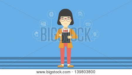 Asian happy student holding tablet computer. Young woman working on tablet computer and some icons connected to the device on light blue background. Vector flat design illustration. Horizontal layout.