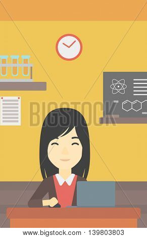 An asian young student sitting at the table and working on laptop. Woman working on a laptop on the background of chemistry class . Vector flat design illustration. Vertical layout.