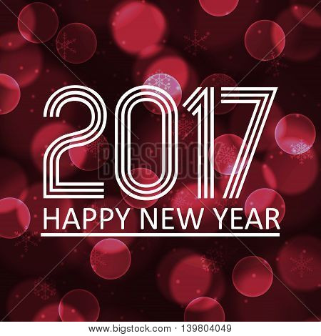 Happy New Year 2017 On Dark Bokeh Circle Background Eps10