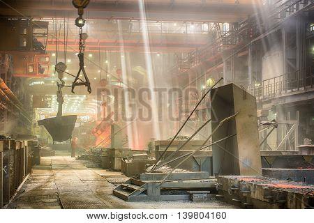 Novokuznetsk, Russia - MAY 25, 2016 Casting ferroalloy factory