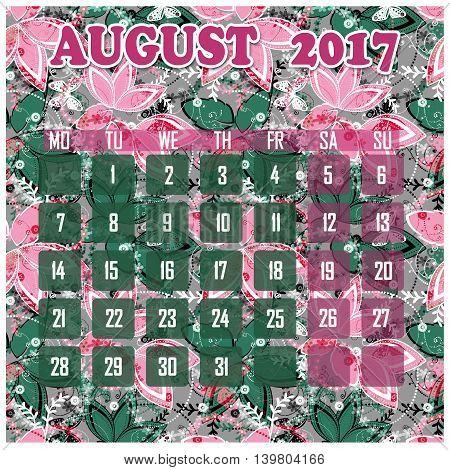 Floral 2017 calendar design for month august printable