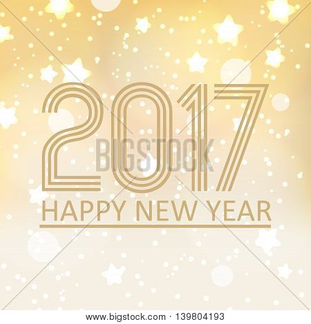 Happy New Year 2017 On Shiny Abstract Background With Stars And Lights Eps10