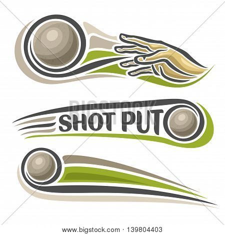 Vector logo for athletics shot put, consisting of arm, hand throw sphere flying on trajectory, 3 sport metal throwing balls. Track and field equipment for summer games. Flying Shot Put