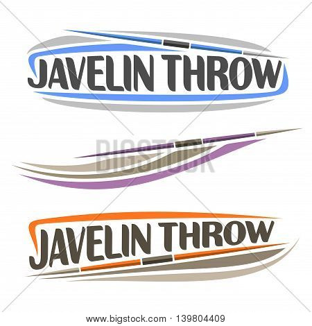 Vector logo for athletics javelin throw, consisting of spear flying on trajectory, 3 sports throwing lance. Track and field equipment for championship summer games. Flying Javelin Throw